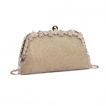 LY1826-Miss Lulu Diamante Embellished Banquet Clutch Bag Gold