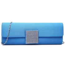 LY6681-Ladies Envelope Diamante Satin Clutch Evening Bag Blue