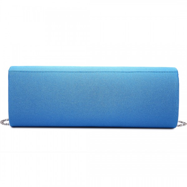 LY6681 - Miss Lulu Diamante Clasp Satin Clutch Evening Bag Blue