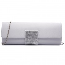 LY6681-Ladies Envelope Diamante Satin Clutch Evening Bag Beige