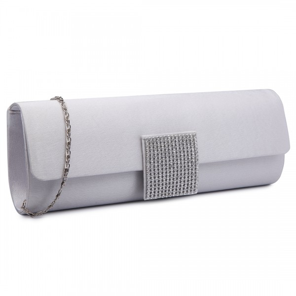 LY6681 - Miss Lulu Diamante Clasp Satin Clutch Evening Bag Beige