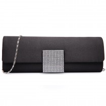 LY6681-Ladies Envelope Diamante Satin Clutch Evening Bag Black