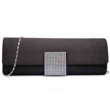 LY6681 - Miss Lulu Diamante Clasp Satin Clutch Evening Bag Black