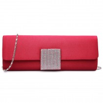 LY6681-Ladies Envelope Diamante Satin Clutch Evening Bag Burgundy