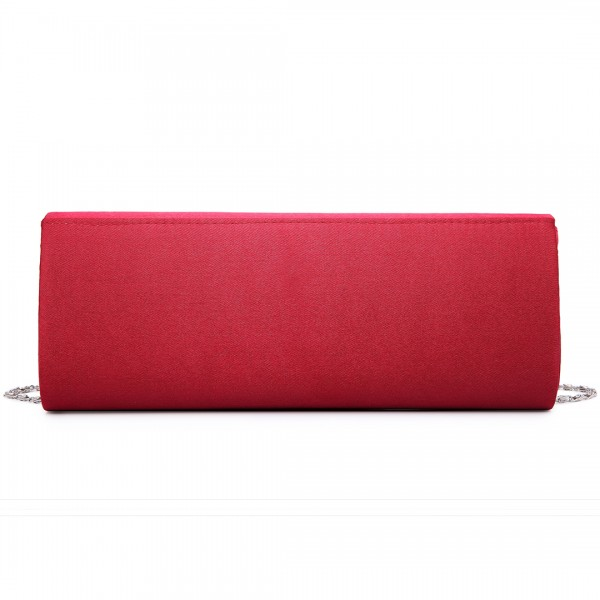 LY6681 - Miss Lulu Diamante Clasp Satin Clutch Evening Bag Burgundy