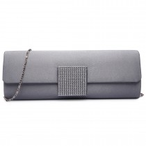 LY6681-Ladies Envelope Diamante Satin Clutch Evening Bag Grey