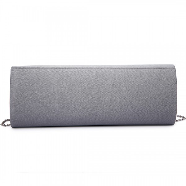 LY6681 - Miss Lulu Diamante Clasp Satin Clutch Evening Bag Grey