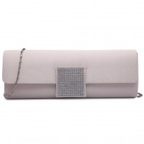LY6681-Ladies Envelope Diamante Satin Clutch Evening Bag Nude
