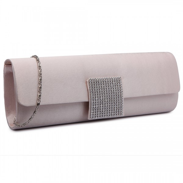 LY6681 - Miss Lulu Diamante Clasp Satin Clutch Evening Bag Nude