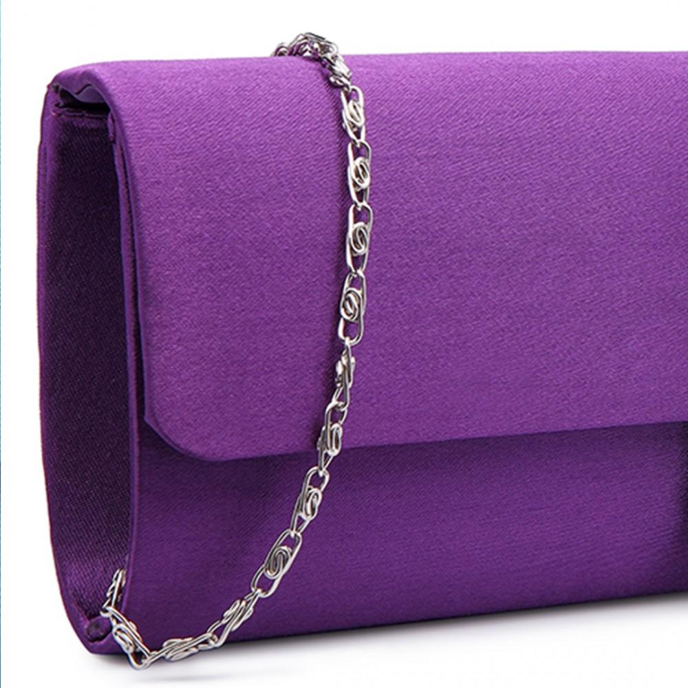 LY6681 - Miss Lulu Diamante Clasp Satin Clutch Evening Bag Purple