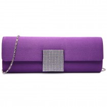 LY6681-Ladies Envelope Diamante Satin Clutch Evening Bag Purple