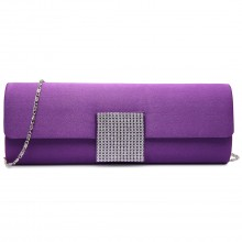 LY6681 - Miss Lulu Diamante Clasp Satin Clutch Evening Bag Purple