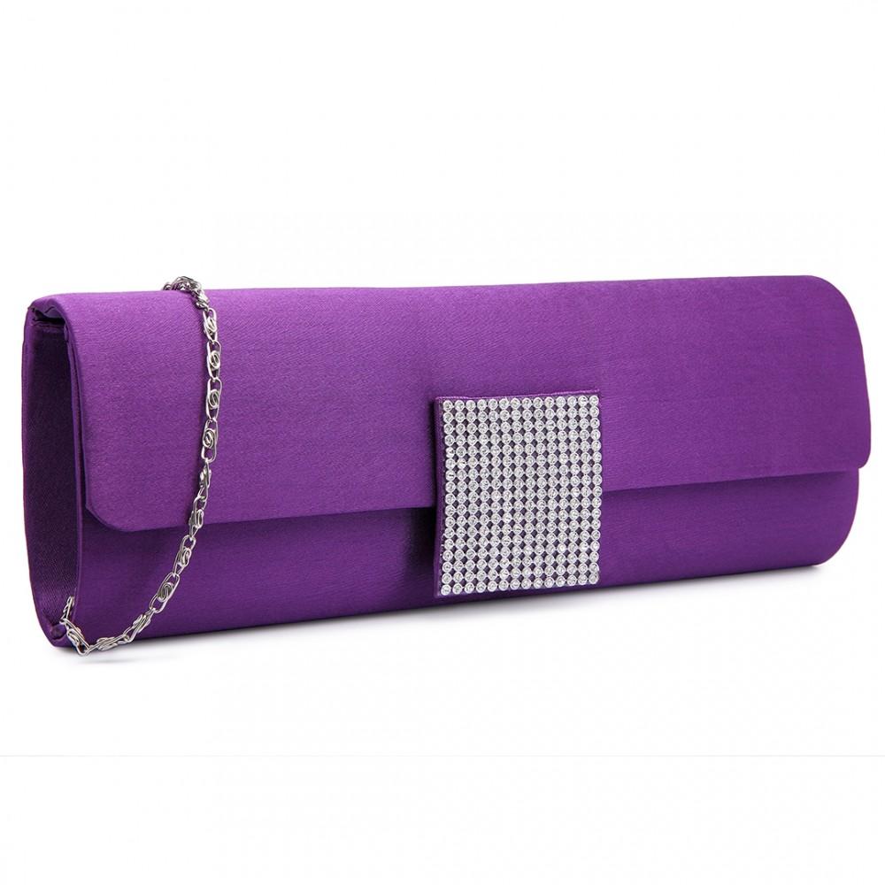 LY6681-Ladies Envelope Diamante Satin Clutch Evening Bag Purple