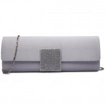 LY6681-Ladies Envelope Diamante Satin Clutch Evening Bag Silver