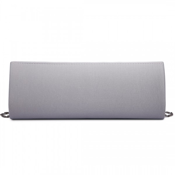 LY6681 - Miss Lulu Diamante Clasp Satin Clutch Evening Bag Silver