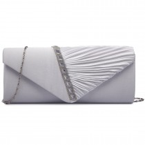LY6682- Miss Lulu Ladies Diamante Satin Clutch Evening Bag Beige