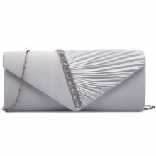 LY6682 - Miss Lulu Diamante Stripe Ruched Satin Clutch Evening Bag Beige