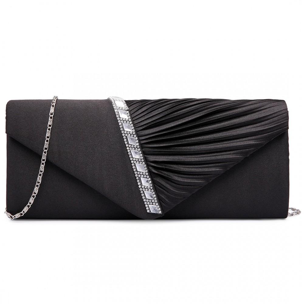 9d4313861d LY6682 - Miss Lulu Diamante Stripe Ruched Satin Clutch Evening Bag Black