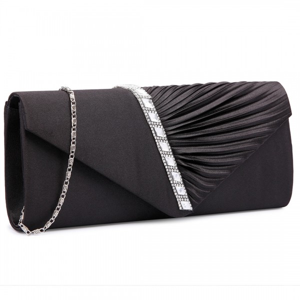 LY6682 - Miss Lulu Diamante Stripe Ruched Satin Clutch Evening Bag Black