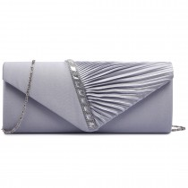 LY6682-Miss Lulu Ladies Diamante Satin Clutch Evening Bag Grey