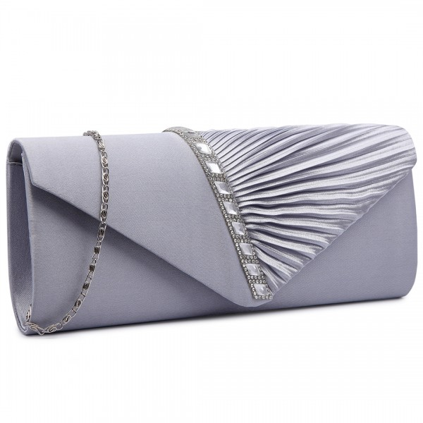 LY6682 - Miss Lulu Diamante Stripe Ruched Satin Clutch Evening Bag Grey