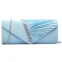 LY6682-Miss Lulu Ladies Diamante Satin Clutch Evening Bag Light Blue