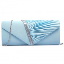 LY6682 - Miss Lulu Diamante Stripe Ruched Satin Clutch Evening Bag Light Blue