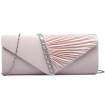 LY6682-Miss Lulu Ladies Diamante Satin Clutch Evening Bag Nude