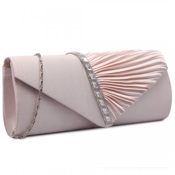 LY6682 - Miss Lulu Diamante Stripe Ruched Satin Clutch Evening Bag Nude
