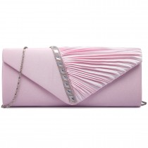 LY6682-Miss Lulu Ladies Diamante Satin Clutch Evening Bag Pink