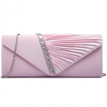 LY6682 - Miss Lulu Diamante Stripe Ruched Satin Clutch Evening Bag Pink