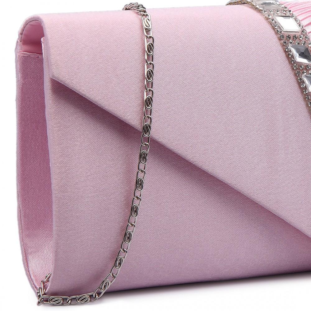 16ed2c46e9 LY6682 - Miss Lulu Diamante Stripe Ruched Satin Clutch Evening Bag Pink