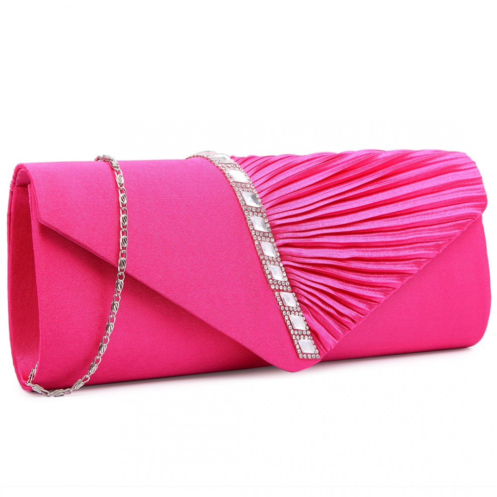 383ead1611 LY6682 - Miss Lulu Diamante Stripe Ruched Satin Clutch Evening Bag Plum