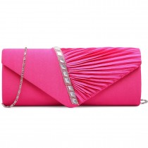 LI6682 - panna Lulu Diamante Stripe Ruched Satin Clutch Evening Bag Plum