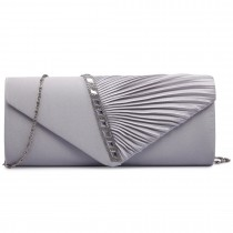 LY6682-Miss Lulu Ladies Diamante Satin Clutch Evening Bag Silver