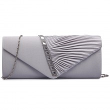 LY6682 - Miss Lulu Diamante Stripe Ruched Satin Clutch Evening Bag Silver