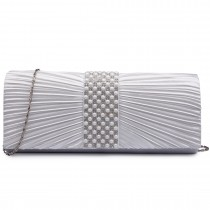 LY6683 --Domnisoara Lulu Diamante si Pearl Ruked Satin Clutch Evening Bag Beige