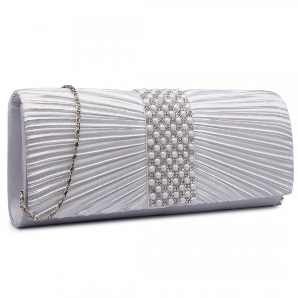 LY6683 - Miss Lulu Diamante and Pearl Ruched Satin Clutch Evening Bag Beige