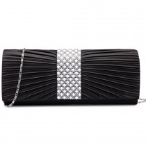 LY6683-Miss Lulu Ladies Diamante Satin Clutch Evening Bag Black