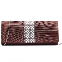 LY6683 --Domnisoara Lulu Diamante si Pearl Ruked Satin Clutch Evening Bag Coffee