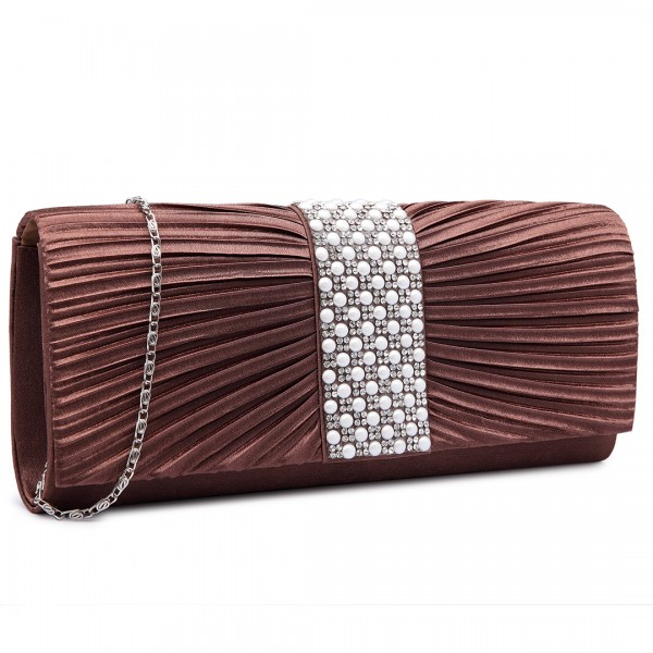 LY6683 - Miss Lulu Diamante and Pearl Ruched Satin Clutch Evening Bag Coffee