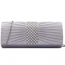 LY6683- Miss Lulu Ladies Diamante Satin Clutch Evening Bag Grey