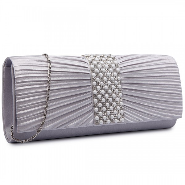 LY6683 - Miss Lulu Diamante and Pearl Ruched Satin Clutch Evening Bag Grey