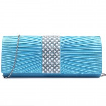 LY6683-Miss Lulu Ladies Diamante Satin Clutch Evening Bag Light Blue