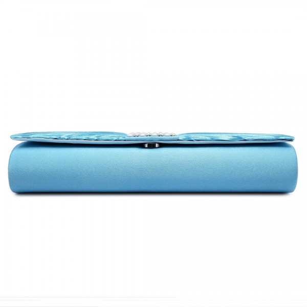 LY6683 - Miss Lulu Diamante and Pearl Ruched Satin Clutch Evening Bag Light Blue