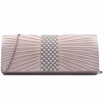 LY6683- Miss Lulu Ladies Diamante Satin Clutch Evening Bag Nude