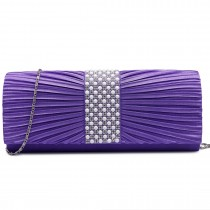 LY683 --Domnisoara Lulu Diamante si Pearl Ruked Satin Clutch Evening Bag Purple