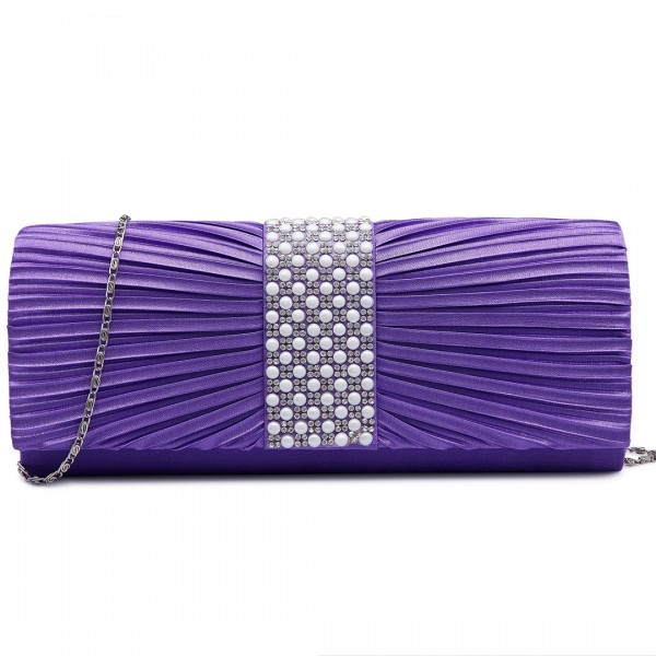 LY6683 - Miss Lulu Diamante and Pearl Ruched Satin Clutch Evening Bag Purple
