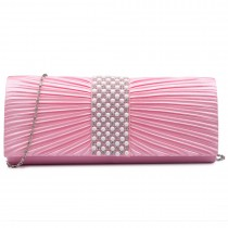 LY6683- Miss Lulu Ladies Diamante Satin Clutch Evening Bag Pink