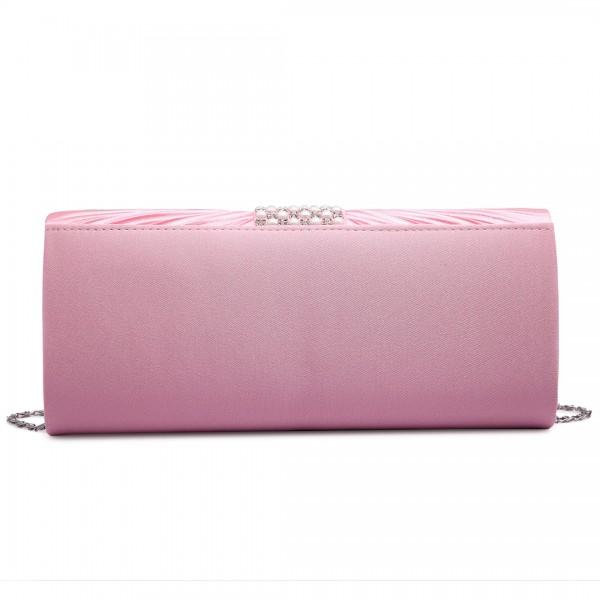 LY6683 - Miss Lulu Diamante and Pearl Ruched Satin Clutch Evening Bag Pink